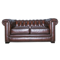 Louis Donne Chesterfield Sofa Full Real Hand Washed Leather Antique Brown