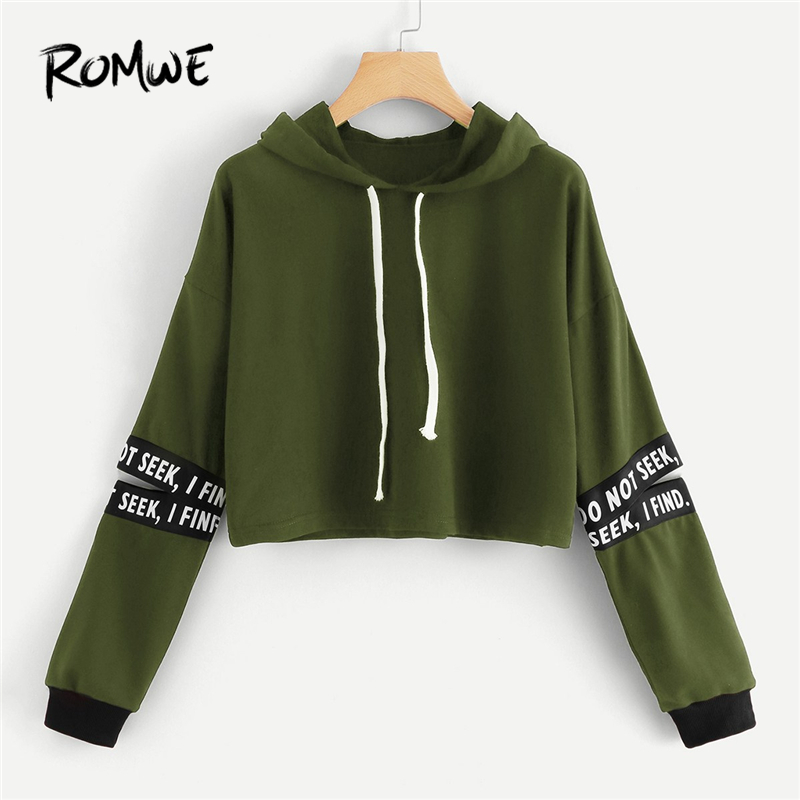 Romwe Army Green Letter Tape Cut Out Sleeve Crop Hoodie Sweatshirt Women Casual Autumn Long Sleeve Clothing Drawstring Pullovers 100% Original Women's Clothing