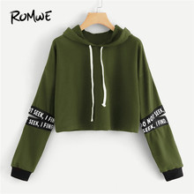 ce3375dc ROMWE Army Green Letter Tape Cut Out Sleeve Crop Hoodie Sweatshirt Women  Casual Autumn Long Sleeve Clothing Drawstring Pullovers