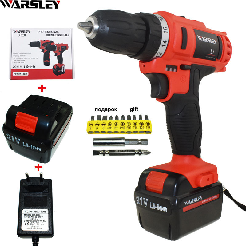 21V electric Drill Cordless Drill electric screwdriver power tools Electric 2 Batteries Screwdriver Mini Drill electric drilling женские сумки