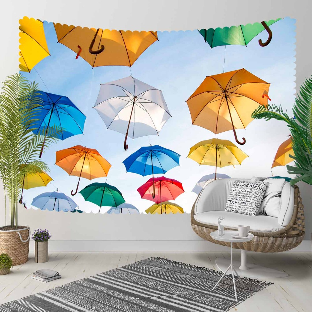Else Blue Yellow White Green Red Umbrellas Modern 3D Print Decorative Hippi Bohemian Wall Hanging Landscape Tapestry Wall Art