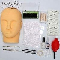 Individual Eyelash Extension Kit Supplies Tools Training False EyeLashes Makeup Set With Flat Head Tweezers For Eye Lash Graft