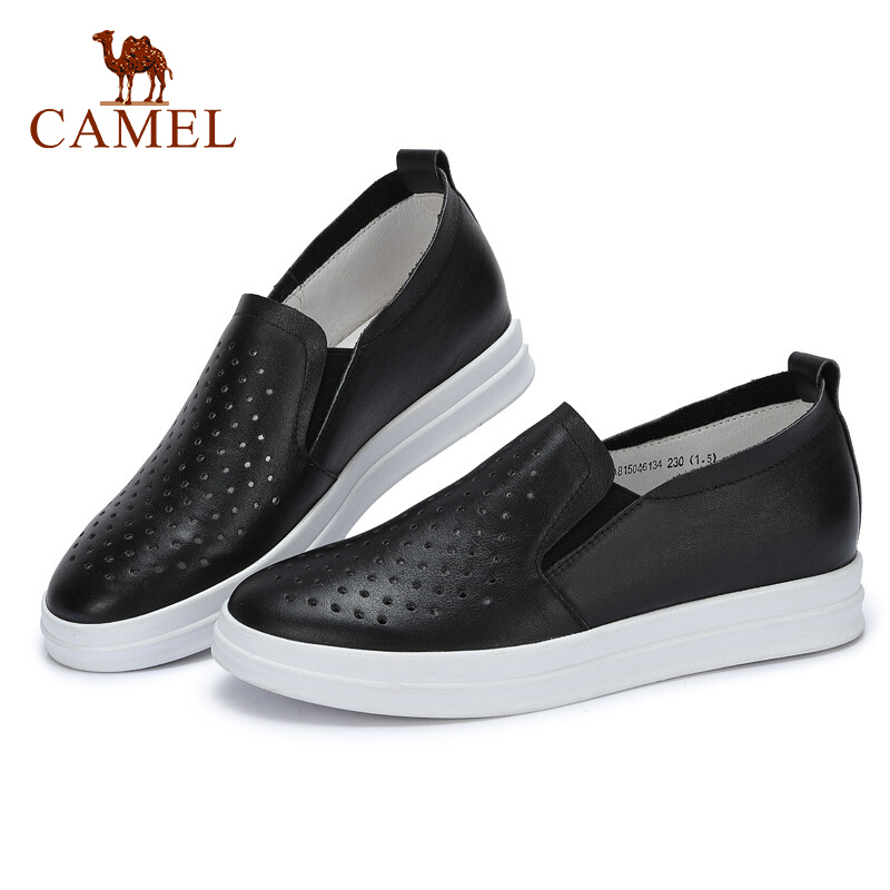 bianco Med Shoes Hollow Single bianca Cammello Comfort signore Semplice Nuove pelle morbida le Per Slip Primavera donne On Casual Nero wqHZB4