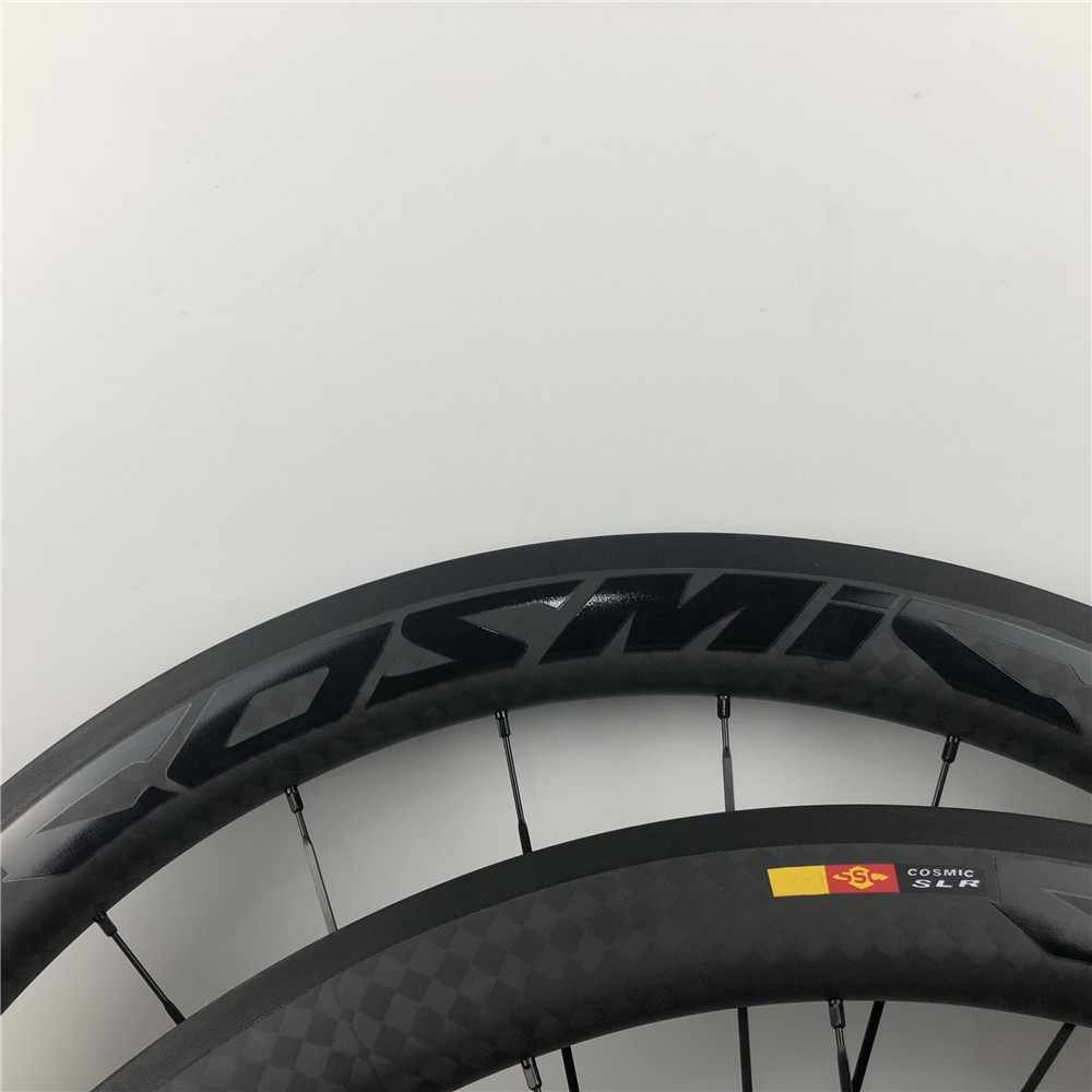 2019 lightweight 50mm 38 700C 12K Rims Road Bicycle Carbon Wheel COSMIC SLR bright black LOGO Cycling racing Clincher wheelset