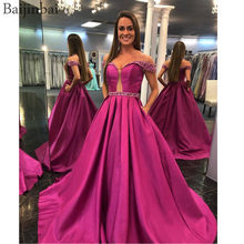 Baijinbai Off Shoulder Prom Dresses A Line Satin Beaded Belt & Straps Illusion Keyhole vestido de fiesta Long Party Formal Dress(China)