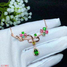 цена KJJEAXCMY boutique jewels  925 sterling silver inlaid natural gemstone tourmaline lady Pendant Necklace support detection онлайн в 2017 году