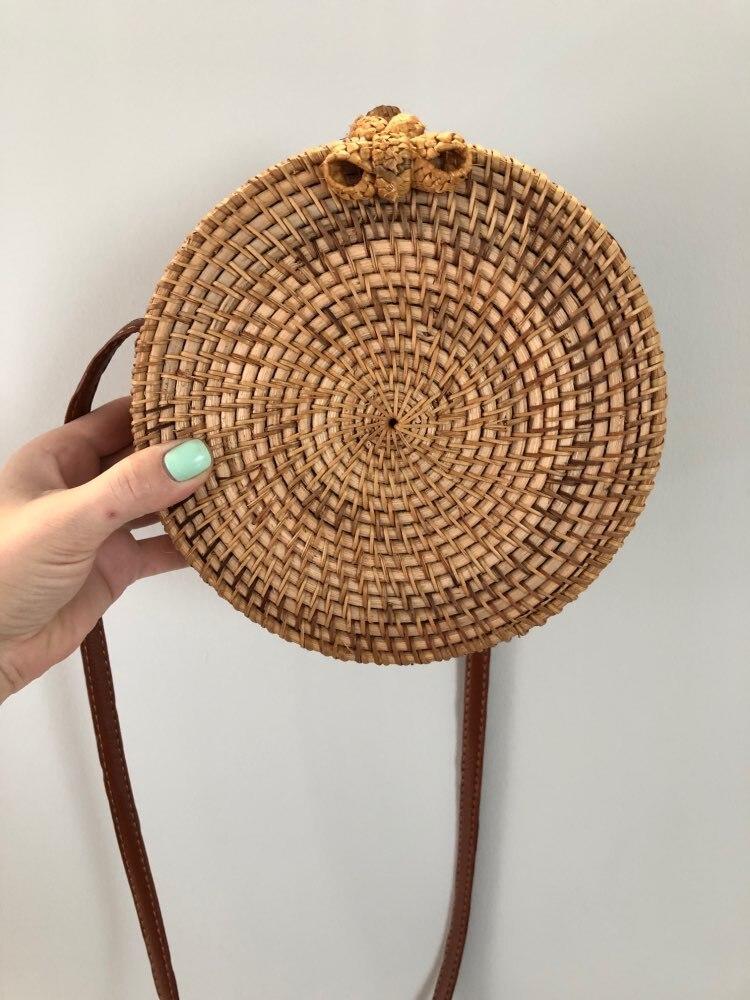 Bali Island Hand Woven Bag Round Bag buckle Rattan  Straw Bags Satchel Wind Bohemia Beach Circle Bag