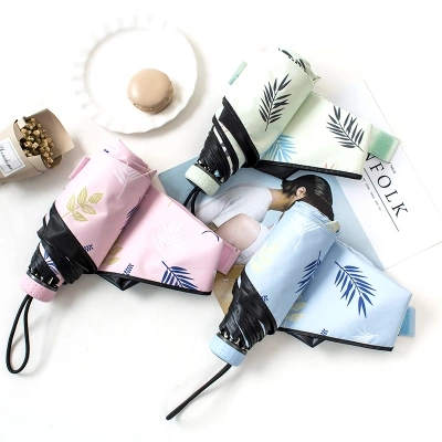 Mini five-folding umbrella/Black coating/Botanical Garden/ sunny and rainy/Printing Logo/light and convenient/fashion/