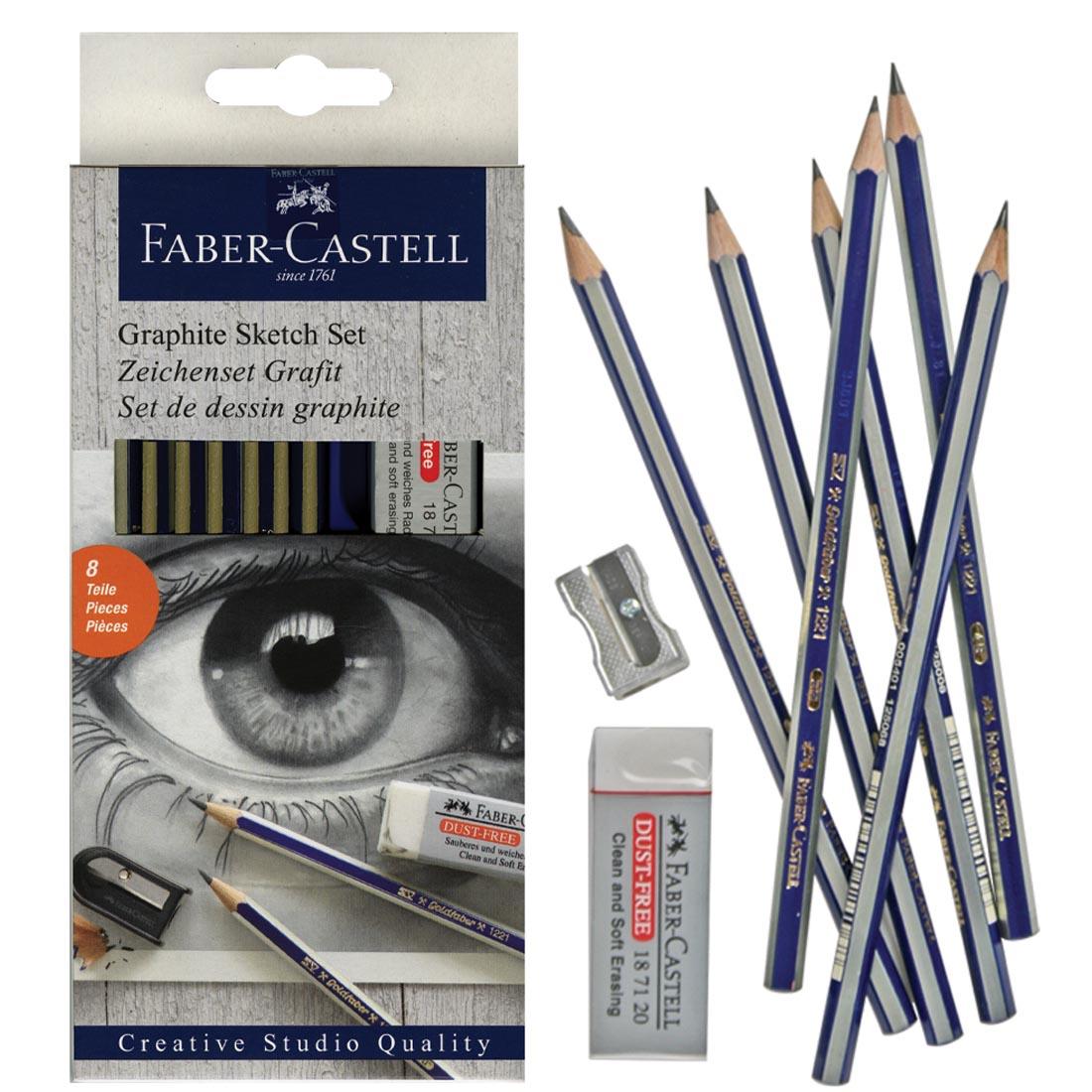4B 2H Faber-Castell Graphite 6 Pencil Set-2B 6B HB B with Eraser