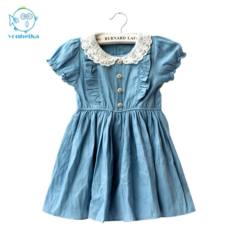 Denim Summer Kids Clothing Cotton Girls Dresses Casual Children Clothing Blue Denim Toddler Princess Short Sleeve Dress For Girl