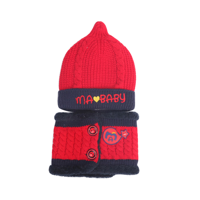 2Pcs/Set Baby Boy Girl Letter Embroidered Knitted Beanie Cap Hat + Collar  Scarf