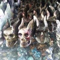 Natural stone crystal skull flying skull embellishments and chakra healing crystals