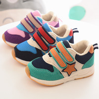 New 2017 Patchwork Canvas Cool Baby Sneakers Hook Loop Sports Running Baby Girls Boys Shoes High