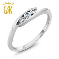 Women S Antique 3 Stone Bypass 18K Solid White Gold Diamond Ring Wedding Band