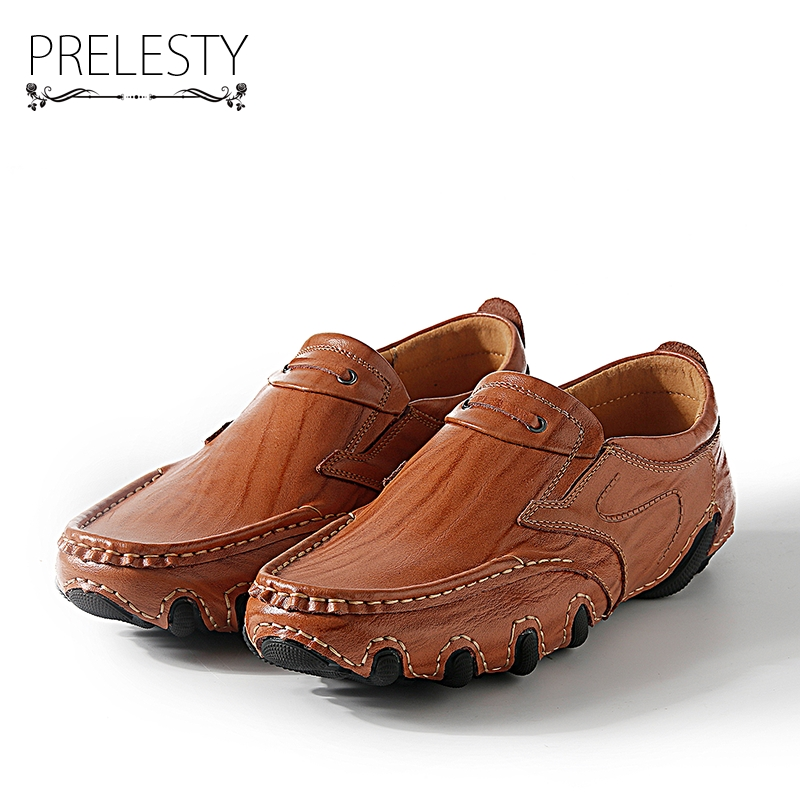 Prelesty New Chic Design Men Slip on Genuine Leather Handmade Mens Loafers Dress Flats Male Moccasins Zapatos Hombre genuine leather flats men shoes loafers new fashion slip on moccasins handmade driving zapatos hombre breathable cut outs summer