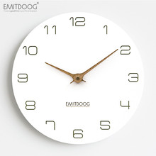 EMITDOOG Silent Classical Wall Clock Non Ticking 12 inch Accurate Sweep Movement Wood Decorative Art for Living Room