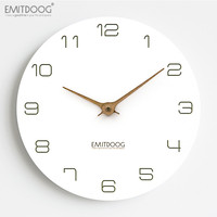 EMITDOOG Silent Classical Wall Clock Non Ticking 12 inch Accurate Sweep Movement Wood Decorative Wall Art Clock for Living Room