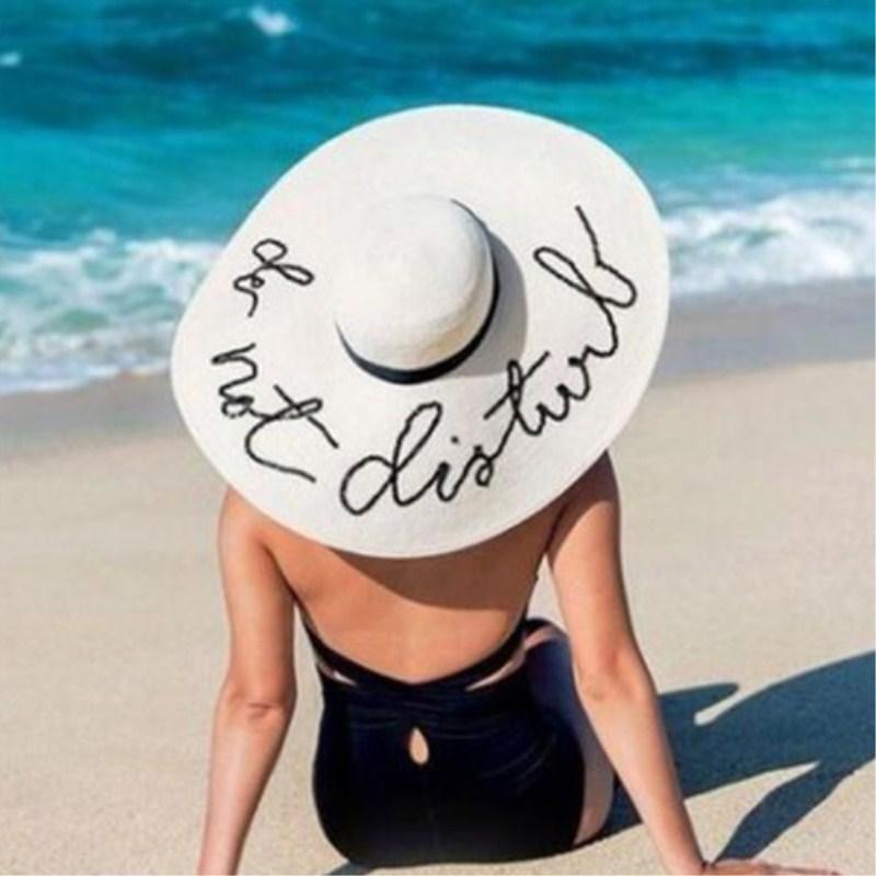 Seioum Summer Large Brim Sun Hats For Women Fashion Sequins Letter Do Not Disturb Embroidery Folded Floppy Hat Bohemia Beach Cap