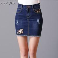 ELEXS 2017 Summer Denim Mini Skirt Women Floral Embroidered Skirts Winter Sexy Short Jeans Skirt E7978