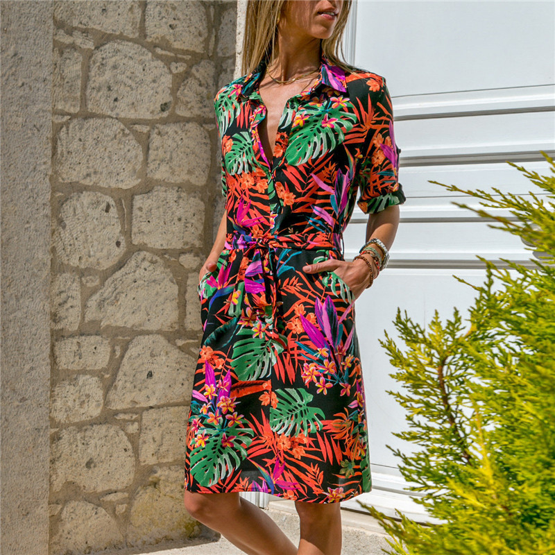 Long Sleeve Shirt Dress 19 Summer Boho Beach Dresses Women Casual Striped Print A-line Mini Party Dress Vestidos 23