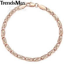 Trendsmax Fashion 585 Rose Gold Womens Bracelet Snail Chain