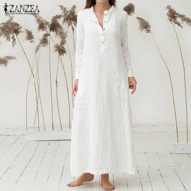 2018 Autumn ZANZEA Women Casual Loose Maxi Long Dress Vintage Stand Collar Long Sleeve Cotton Sexy High Split Hem Solid Dresses