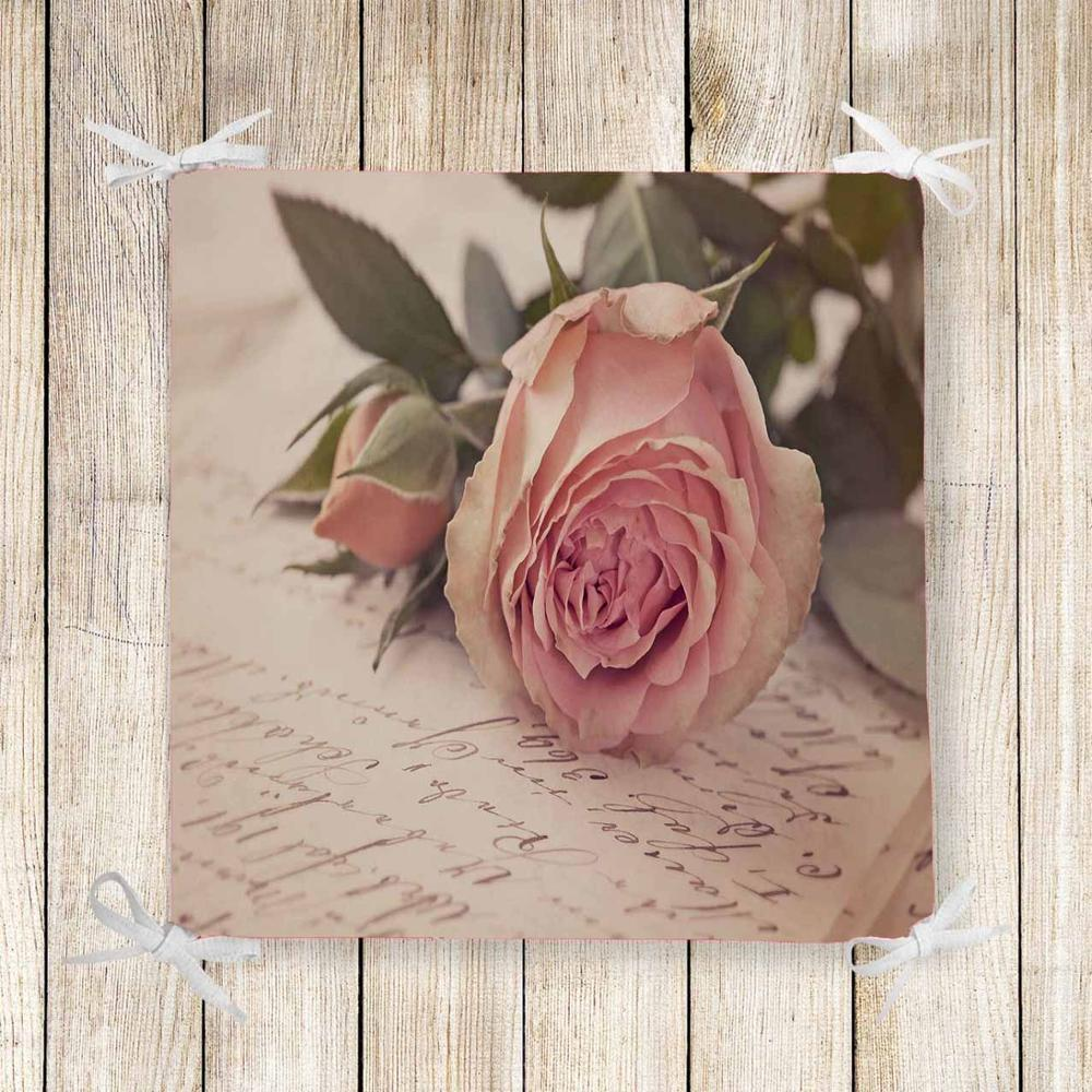 Else Retro Pink Roses Writen Vintage 3d Print Chair Pad Seat Cushion Soft Memory Foam Full Lenght Ties Non Slip Washable Zipper
