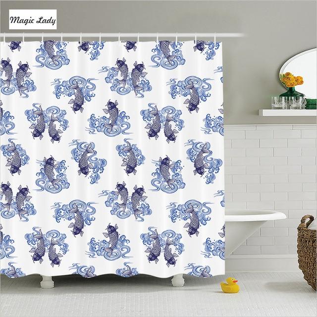 Shower Curtain Fish Bathroom Accessories Underwater Creature Love Waves  Japanese Sea Dark White Blue 180*