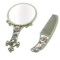 Uxcell цветочным узором Ретро Стиль косметический Макияж зеркало гребень Подарочный бронзовый тон комплект