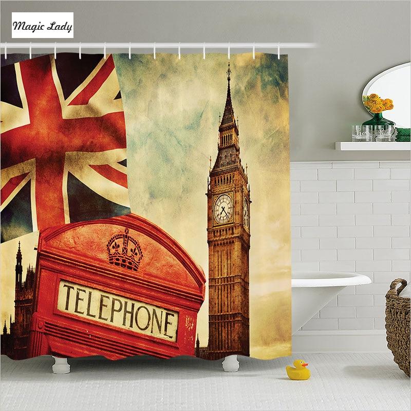 Bath shower curtains flag bathroom accessories london telephone big ben england street art red - Bathroom accessories london ...