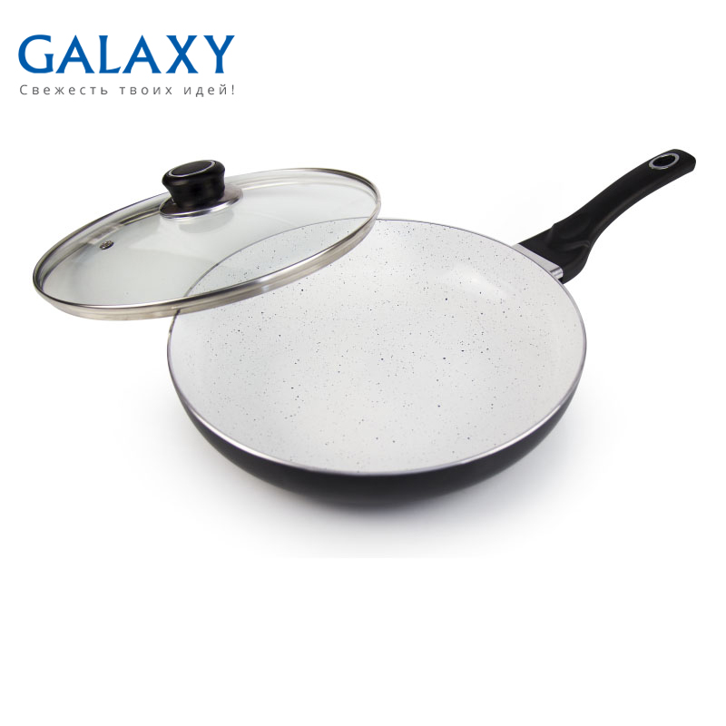 Frying pan with lid Galaxy GL 9820 portable silicone pp oil cleaning scraper for frying pan yellow white