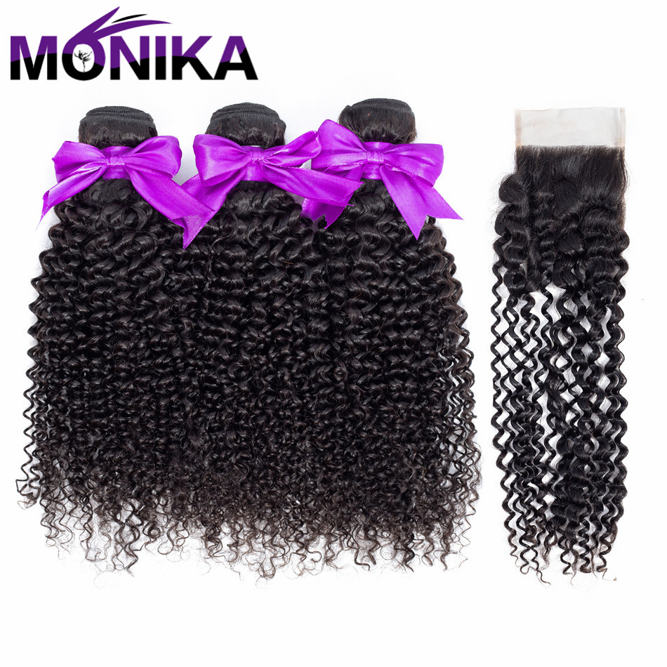 Monika Hair Products Brazilian Kinky Curly Hair With Closure Non Remy Hair Weave 3 Bundles Human Hair Bundles With Closure
