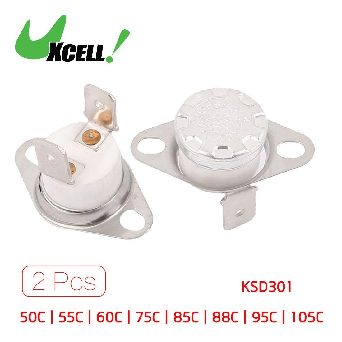 Uxcell 2 Pcs Nc 2 Pin Temperature Control Ceramic Thermostat Swtich Ac250v 105c  110c  115c  120c  125c  170c  175c  50c