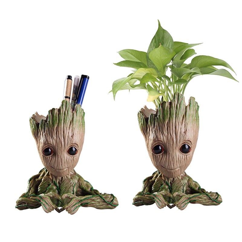 Hot Flower Pot Baby Groot Flowerpot Cute Toy Pen Pot Holder PVC Hero Model Baby Tree Man Garden Plant Pot Groot Dropshipping figurine