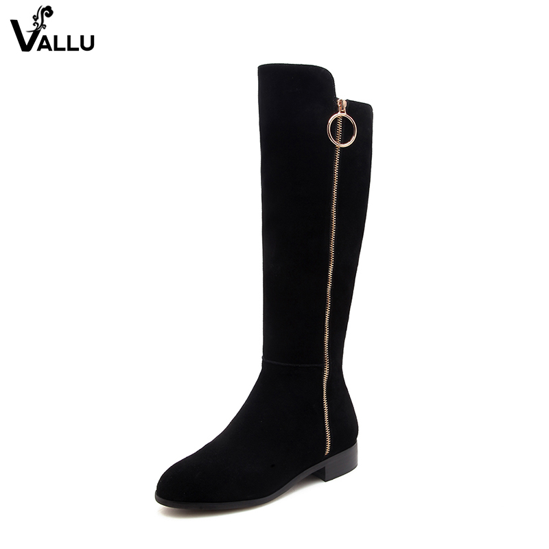 Circle Zip Design Sexy Knee-High Boots For Women Luxury Stylish Brand Women Warm Boots Cow Suede Leather Female Footwear Shoes недорго, оригинальная цена