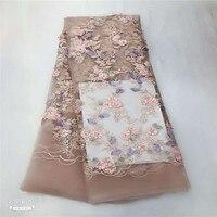 Розовые бусы Роскошный 3d кружевная ткань с крупным бисером жемчугом кружевная свадебная ткань HJ906 1