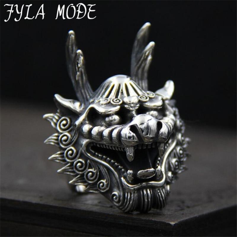FYLA MODE Dragon Tête Anneaux Pour Hommes Punk Rock Style 100% Sterling Argent Bagues Parti Bijoux 38mm Largeur 29.70G PBG055