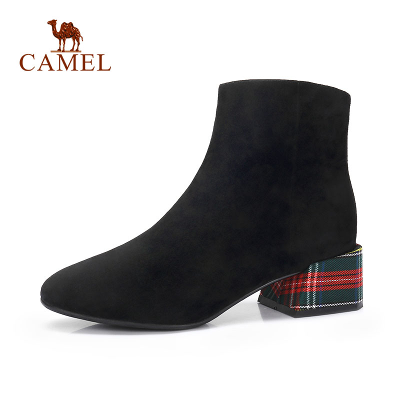CAMEL Fashion Martin Short Boots Shoes Winter Basic Korean Retro Style Style Think High Heel Boots