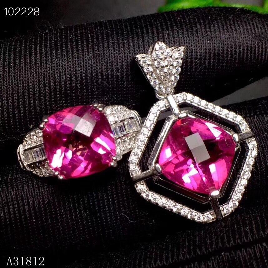 KJJEAXCMY Boutique bijoux 925 argent sterling incrusté poudre naturelle topaze collier pendentif anneau costume soutien détection