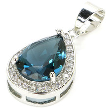 SheCrown Top AAA+ 14x10mm Water Drop Shape London Blue Topaz CZ Gift For Sister Silver Pendant 28x14mm