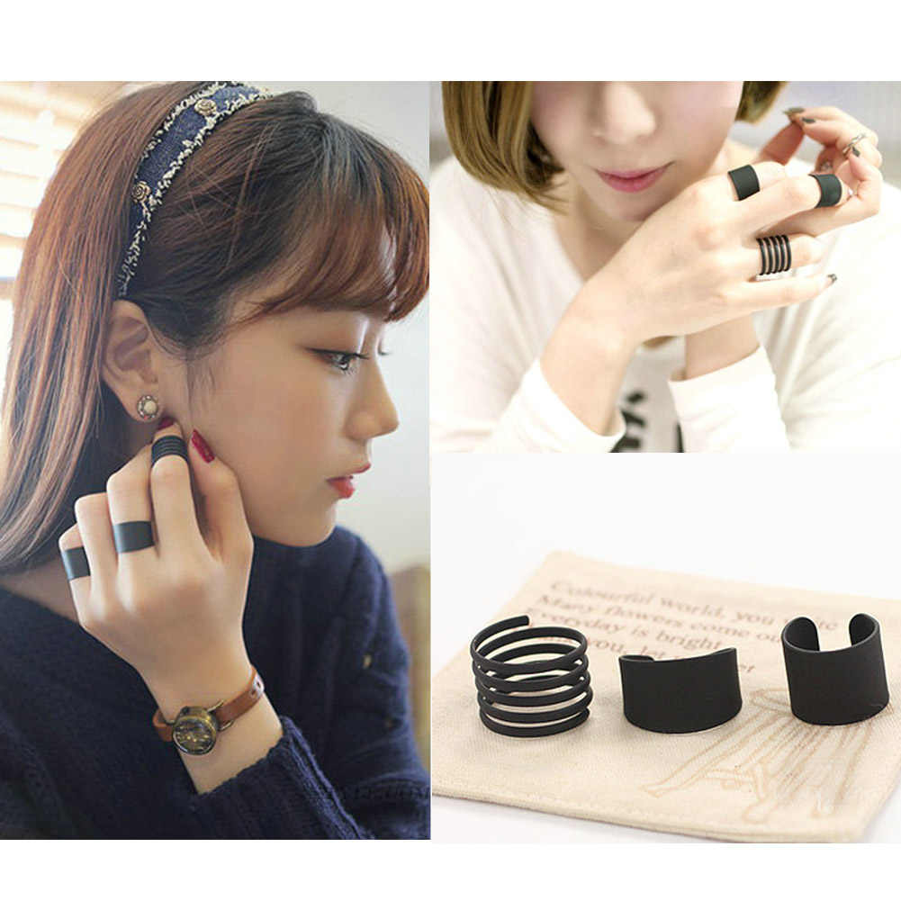 Women Black opening ring three ring high quality Midi Mid Finger Knuckle Ring Set drop shipping