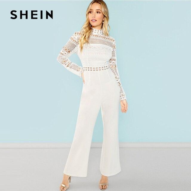 6ef836abe0d7 SHEIN White Stand Collar Plain Jumpsuit Elegant High Waist Maxi Jumpsuits  Women Autumn Mock Neck Guipure
