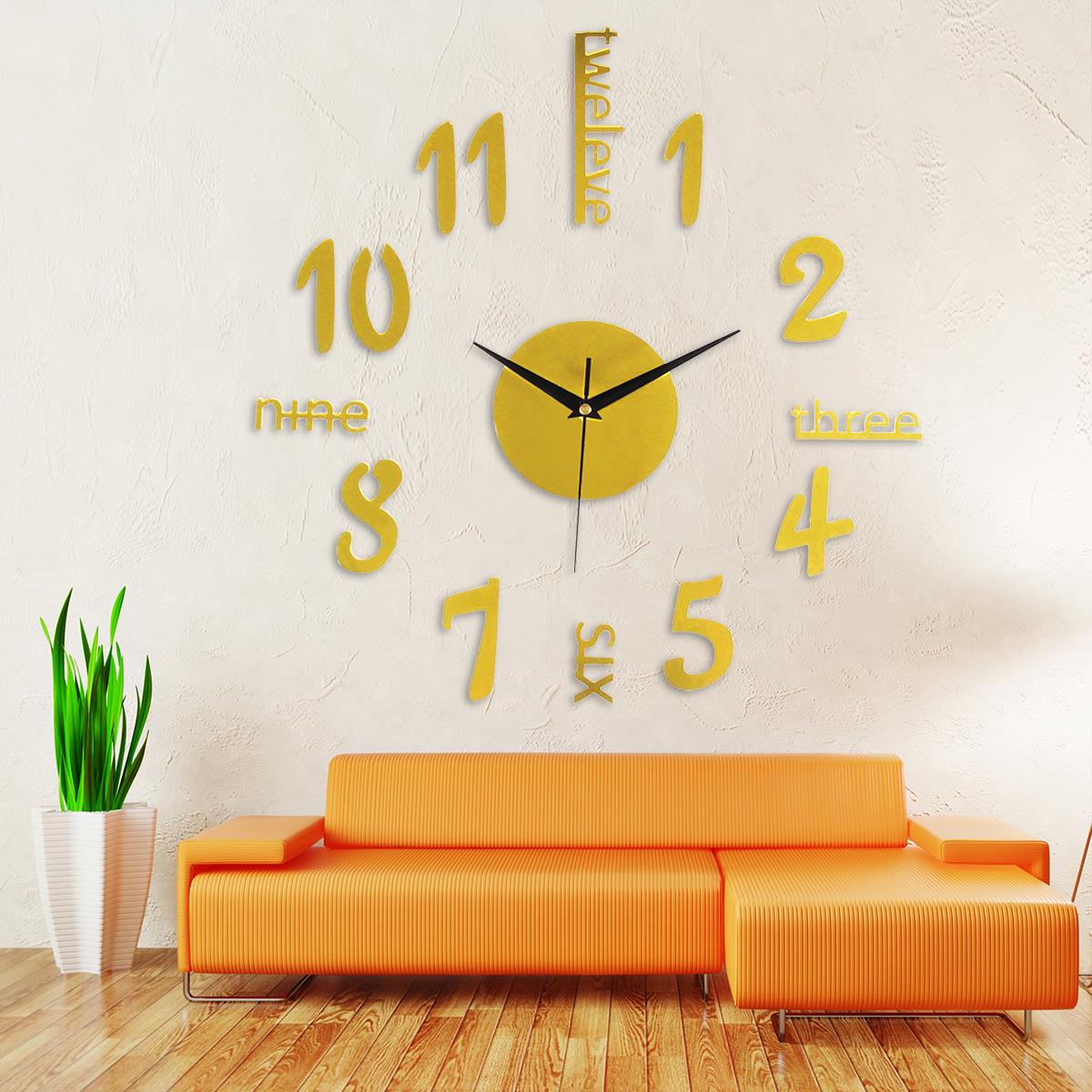 Large Silver Letters For Walls 3D Acrylic Wall Clock Sticker Surface Large Number Letters Diy
