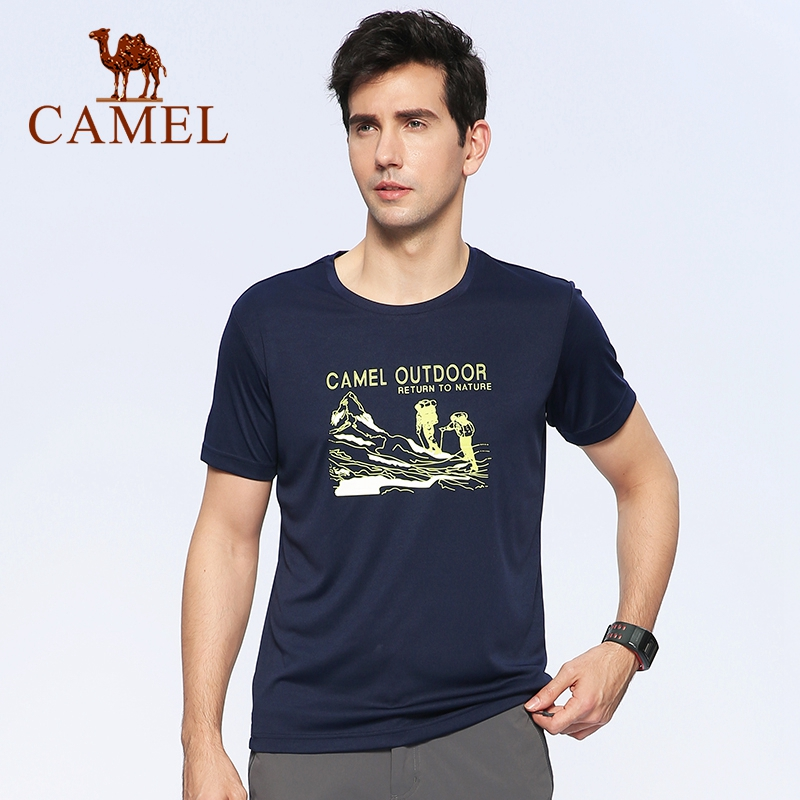 CAMEL Men Outdoor Quick Dry T-shirt Short-Sleeve Summer Breathable Soft Running Hiking Sport Casual Shirt O-neck Tops