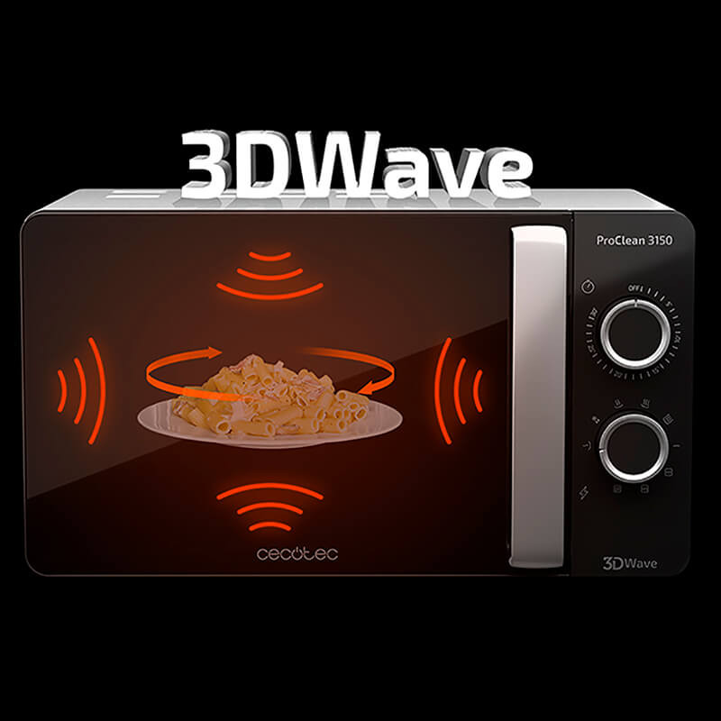 Cecotec Microwave ProClean 3150 with 20 Liter Capacity with Grill Technology 3DWave Timer Design Elegant Easy to Use and Clean