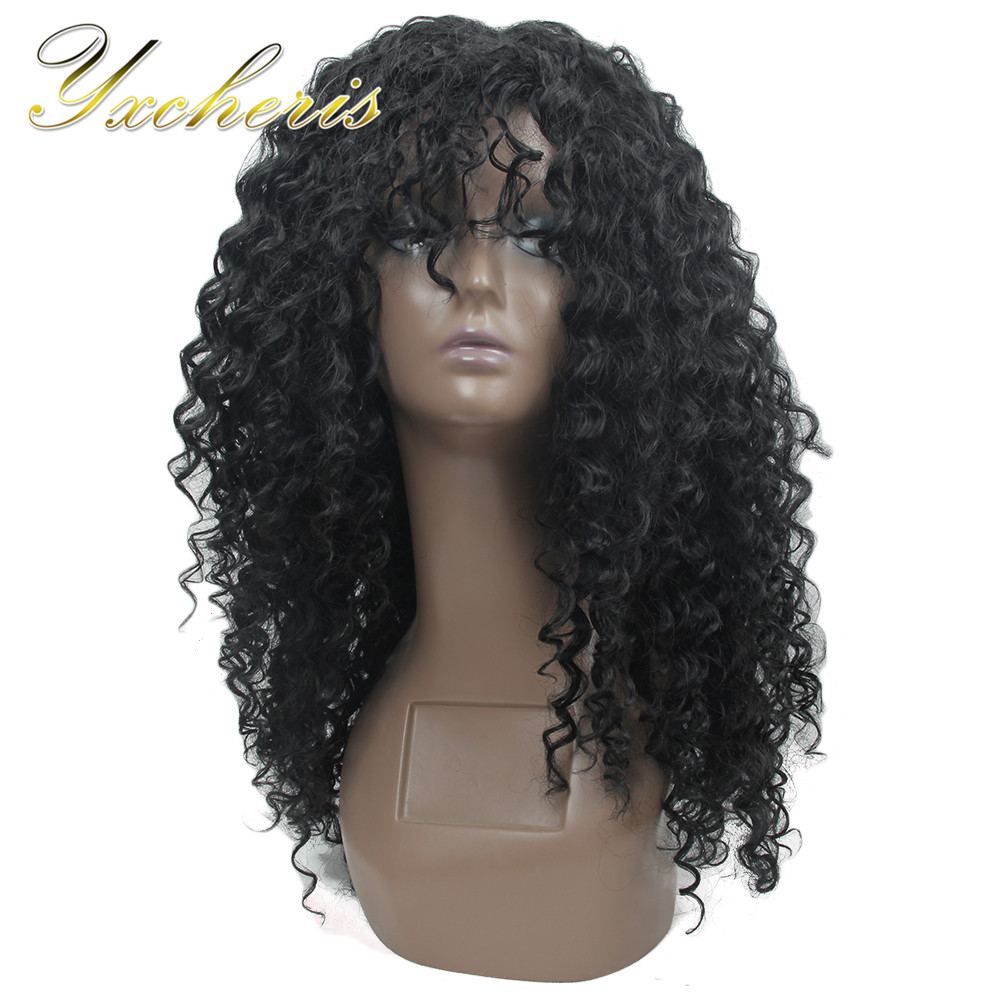 Wigs Long Lace-Wig Afro Curly YXCHERISHAIR Brown Kinky Black Dark African American Women