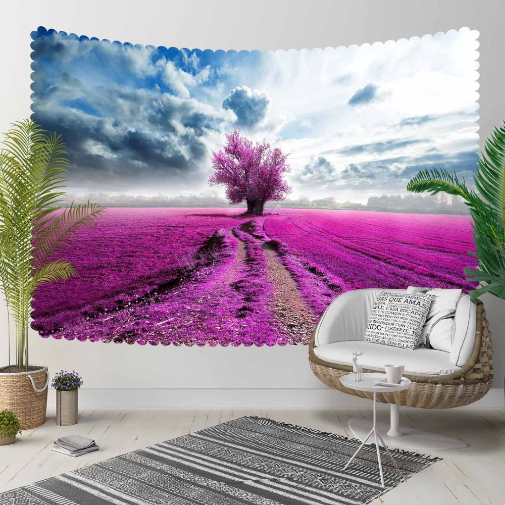 Else Blue Sky Purple Lavender Farms Flowers On Tree 3D Print Decorative Hippi Bohemian Wall Hanging Landscape Tapestry Wall Art