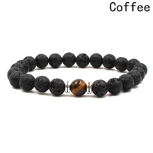 New Style Bracelet Tiger Eye Volcanic Stone Men Black Lava Healing Balance Prayer Natural Stone Yoga Bracelet