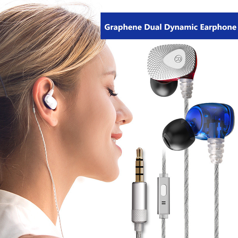 Latest Mifo R1 Hifi Earbuds Graphene Dual Dynamic Earphone Stereo In-Ear Headphone Bass Headset 3.5mm AUX Mic Earphones Ecouteur 2017 new six dynamic bass ear hifi earbuds earphone for mobile phone universal yinjw p8 magic song