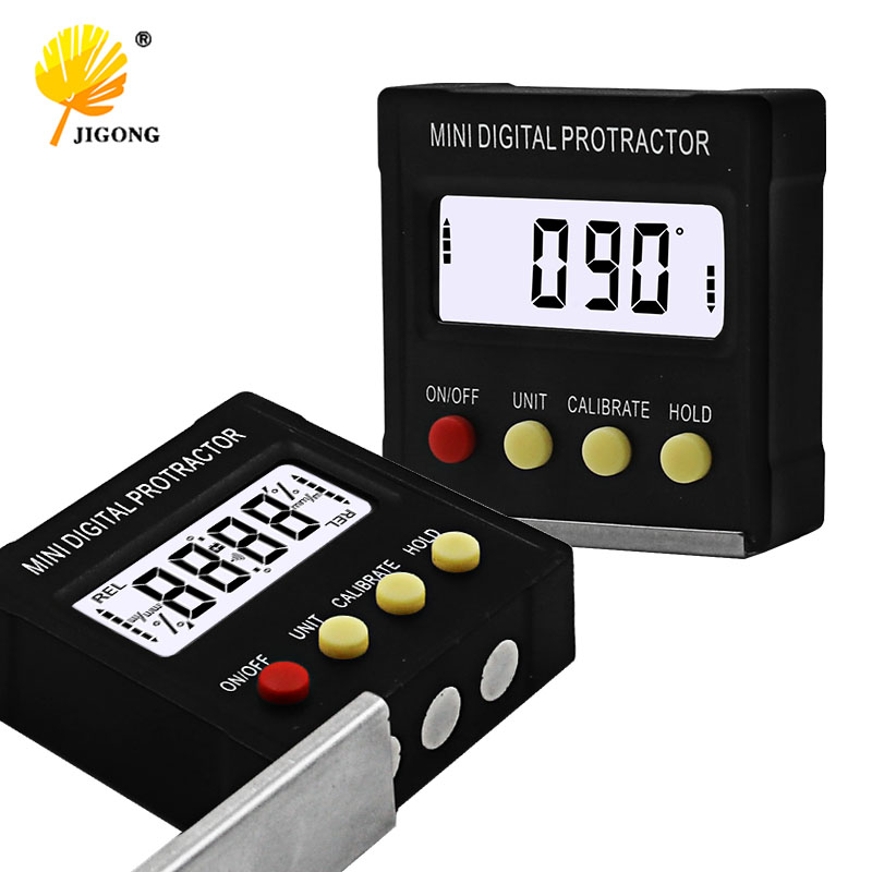 360 학위 미니 디지털 각도기 경사계 전자 레벨 박스 자기 측정 도구